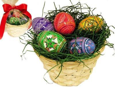 Hand painted 5 wooden ukrainian easter eggs pysanky with basket 3350 gift basket 5 wooden hand painted pysanki pisanka eggs egg easter gift wrap wow negle Choice Image
