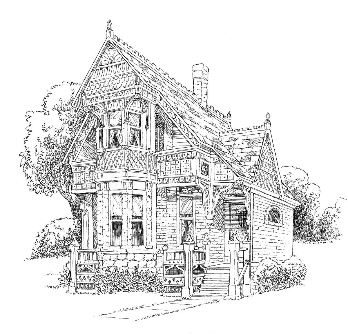 Free coloring pages houses and homes - Lang Designed Building Victorian House Coloring Page