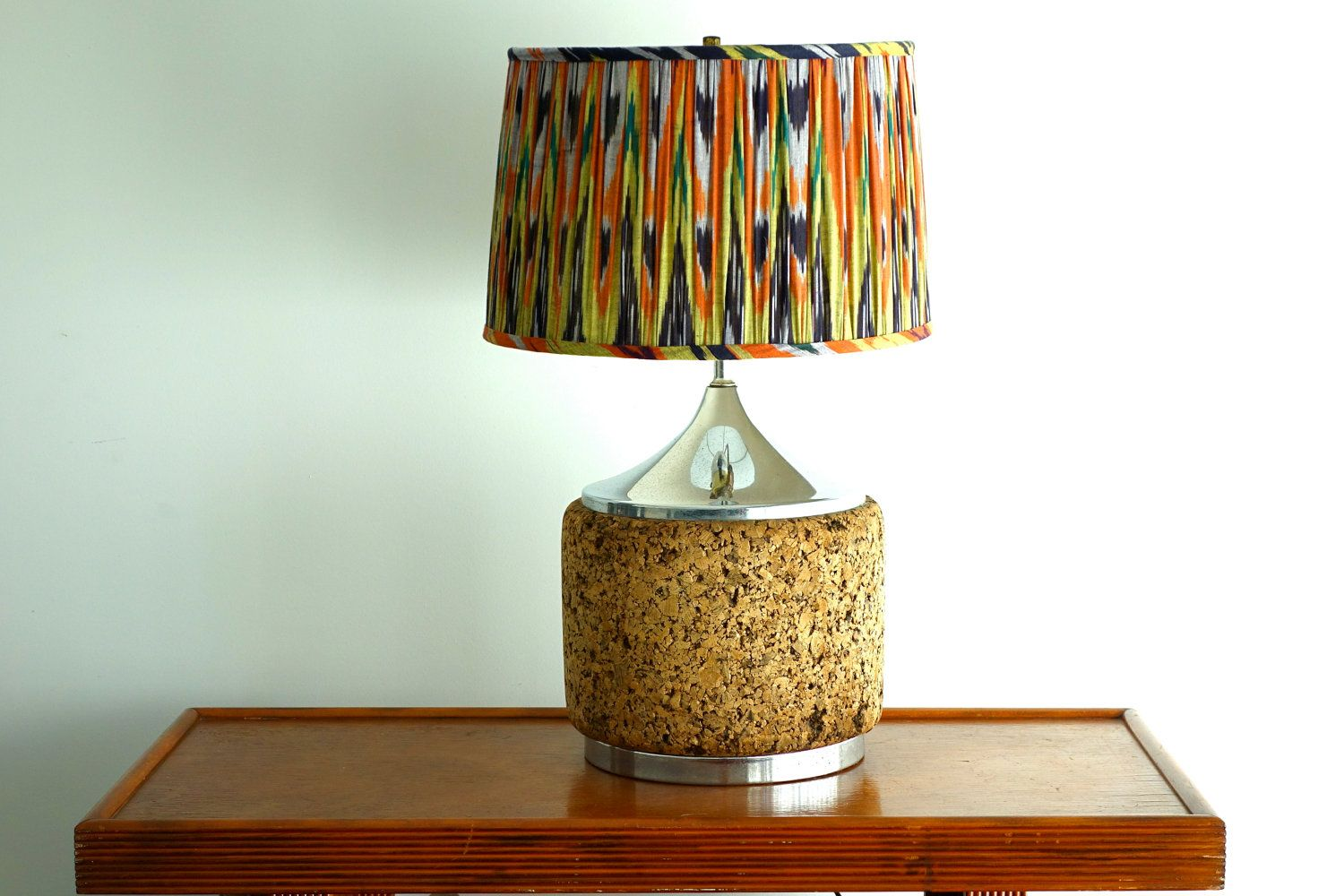 Vintage Cork And Chrome Table Light Mid Century Lamp Retro Lighting Ikea Table Lamp Table Lamp Chrome Table Lamp