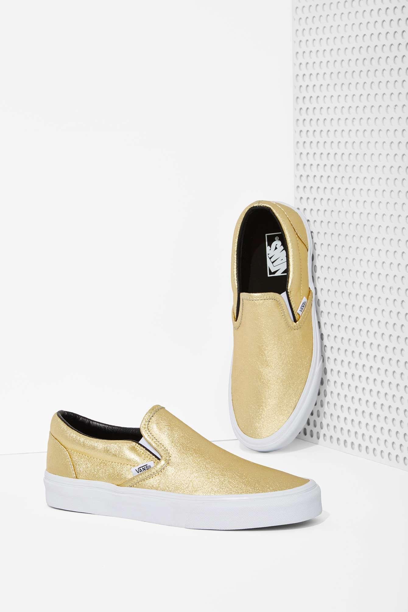 Vans Classic Slip On Sneaker Metallic Gold | (With images