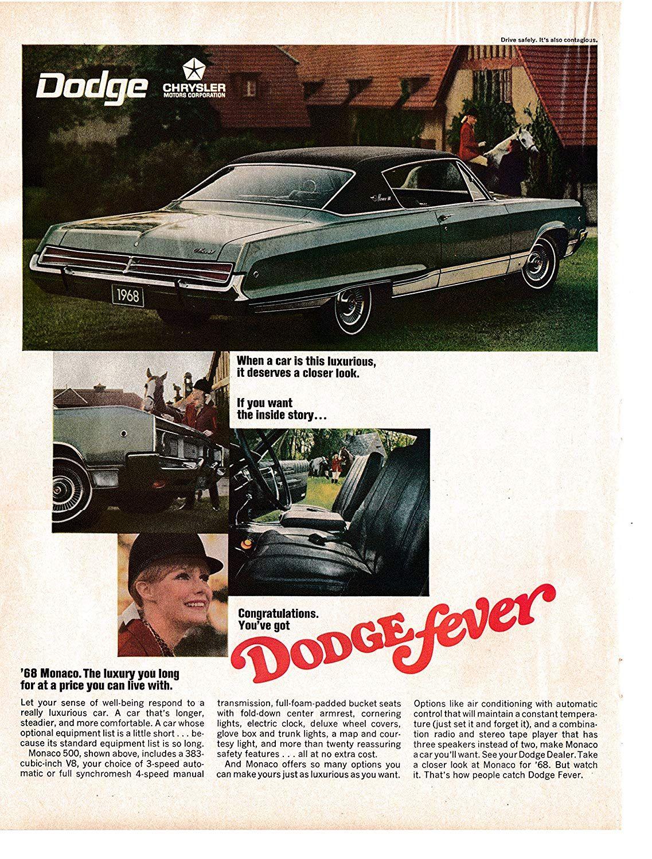 """1969 Dodge Monaco 4 Door HT Dodge Fever Original Print Ad 8.5 x 11/"""""""