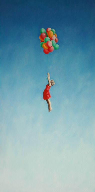 """fly homage to the """"Red Balloon"""" and my dad the meteorologist who would bring big helium balloons for our birthday parties.  I always wanted to do this"""