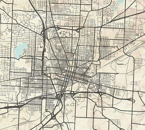Canton Oh Canvas Print Ohio Canton City Vintage Map Horizontal Long