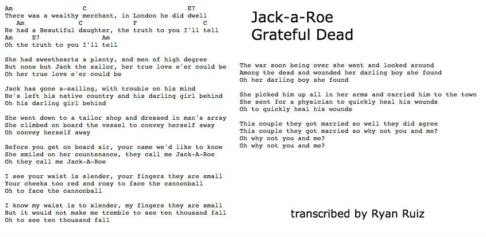 Jack A Roe Chords Guitar Tab Grateful Dead Jerry Garcia
