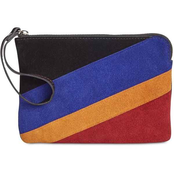 Patricia Nash Suede Colorblock Cassini Wristlet (£53) ❤ liked on Polyvore featuring bags, handbags, clutches, black multi, patricia nash purses, color block handbag, patricia nash handbags, wristlet handbags and colorblock handbags