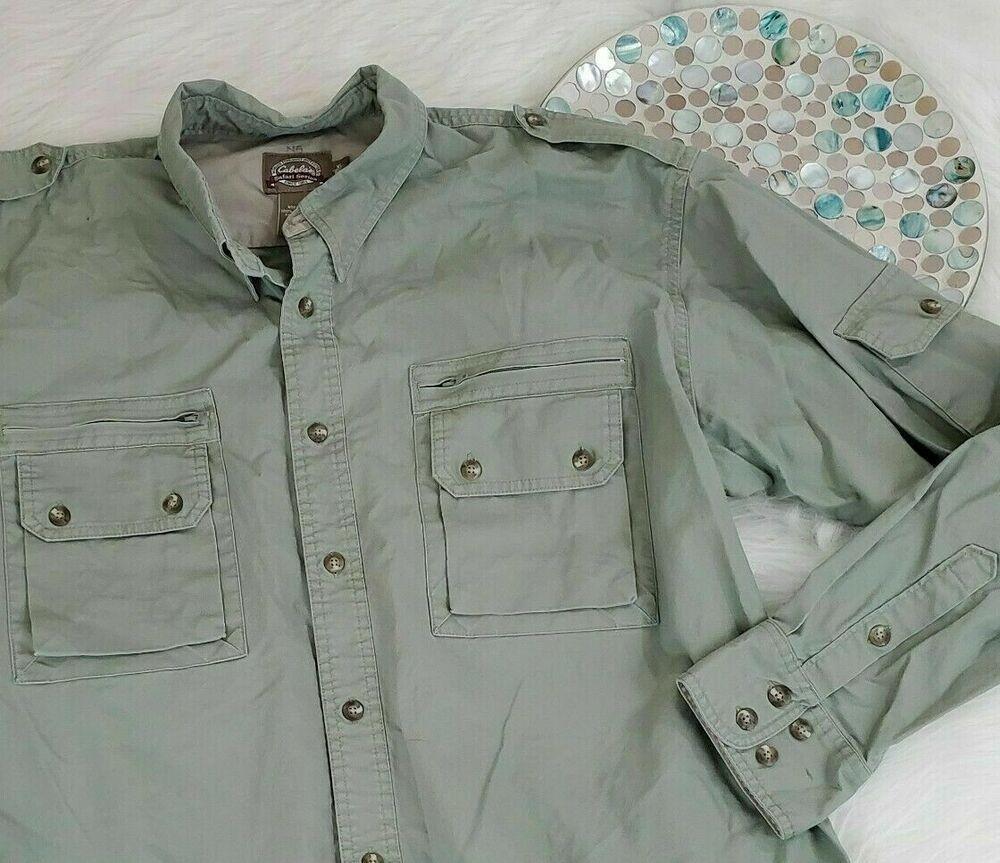 Cabelas Safari Series Mens Shirt Size Xl Green Long Sleeve Button Down Pockets Cabelas Outdoor Mens Shirts Mens Outfits Shirt Size