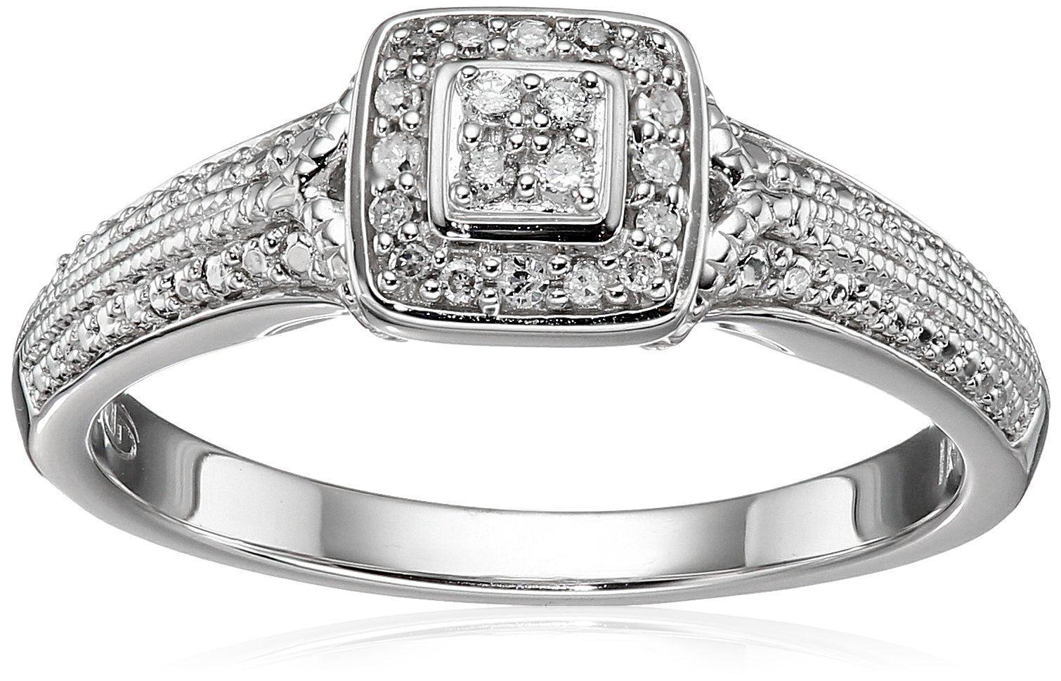 Diamond Friendship Cushion Promise Ring, Size 7 Promise