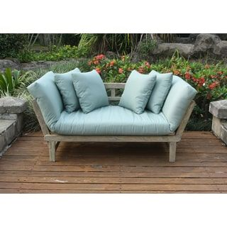 Cambridge Casual West Lake Spruce Blue Convertible Outdoor Sofa Daybed (60  ~ 79 In. L X 31 In. W X 25.5 In.H, Grey), Size Single, Patio Furniture  (Mahogany)