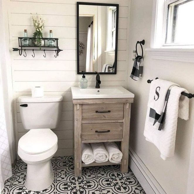 46 The Battle Over Small Farmhouse Bathroom Half Baths Powder Rooms And How To Win It Bathroom Farmhouse Style Small Farmhouse Bathroom Bathroom Design Small