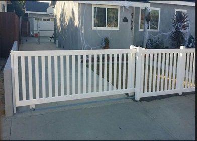 Vinyl Sliding Picket Driveway Gate Fence Design Backyard Fences Brick Fence