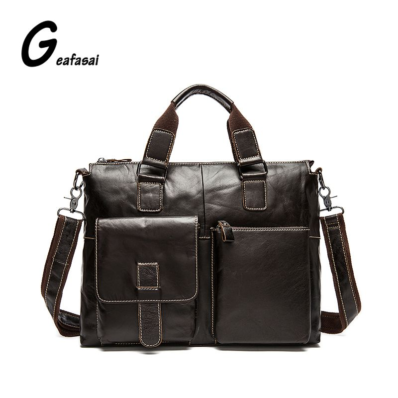 ae0e9dd2480d Leather · COUPON Guaranteed 100% real Cowhide Genuine leather shoulder tote messenger  bags men ...