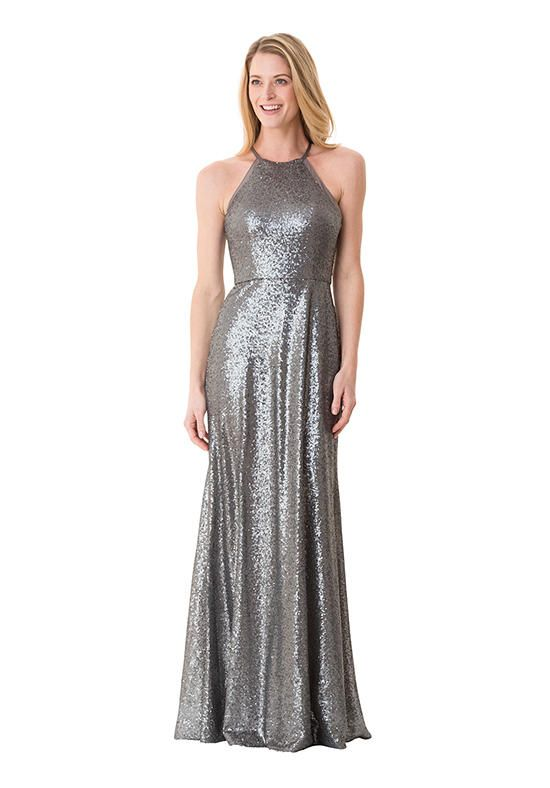 Sequined mermaid styled bridesmaid dress with halter neckline I ...