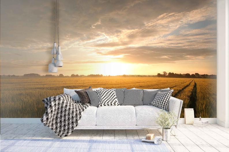 3d Sunrise Field Of Grain Wallpaper Removable Self Adhesive Etsy Mural Wallpaper Feature Wall Wallpaper Wall Murals