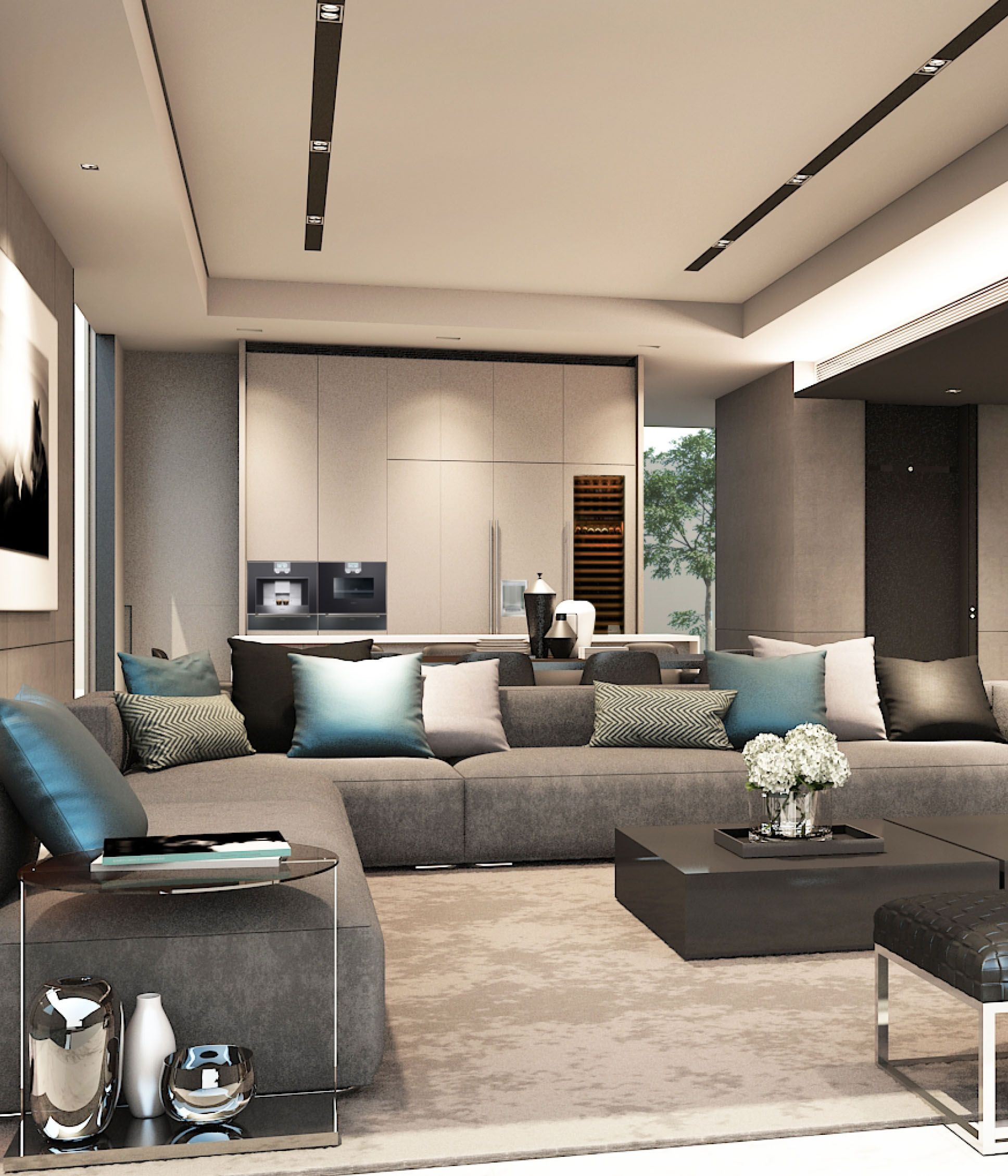 Built in cabinets contemporary living room lucy and company - Scda Mixed Use Development Sanya China Show Villa Type 1 Lounge