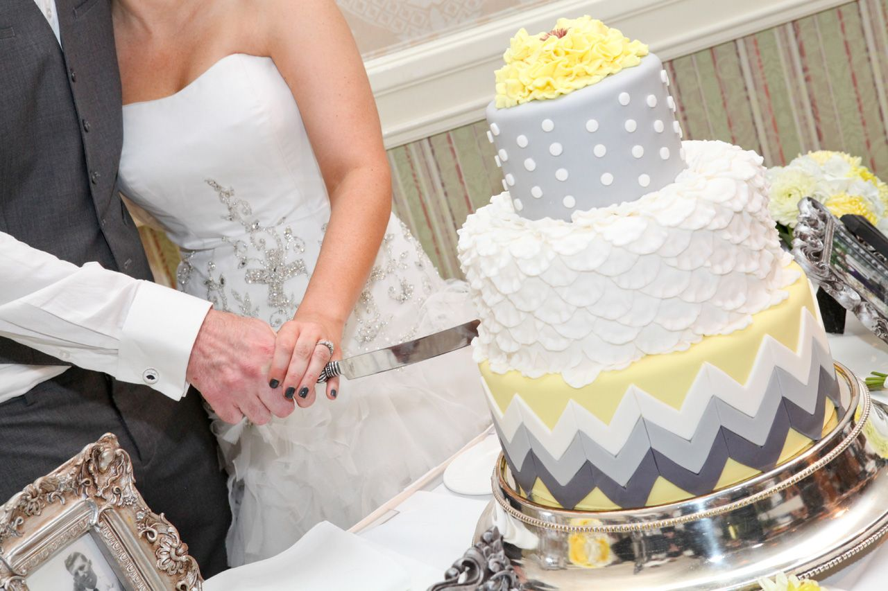 Chevron wedding cake gray and yellow wedding wedding planning