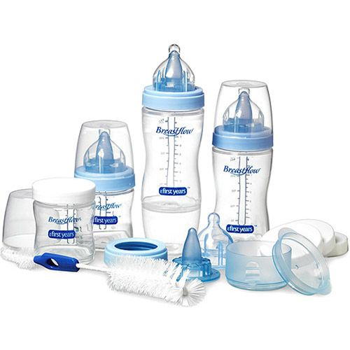 The First Years Breastflow Starter Set,Blue. NEW Baby Bottles