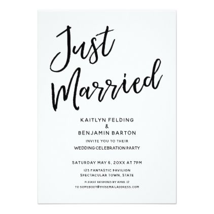Just Married Casual Modern Wedding Reception Card Invitations Personalize Custom Special Event Invitation Idea Style Party Cards