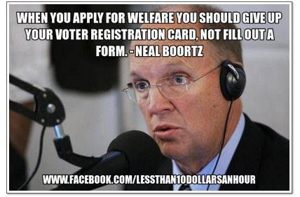 """The right does not want poor people to vote. Today on Hannity, Boortz claimed that our votes should be weighted according to our income. He claimed """"leeches"""" should not be allowed to vote."""
