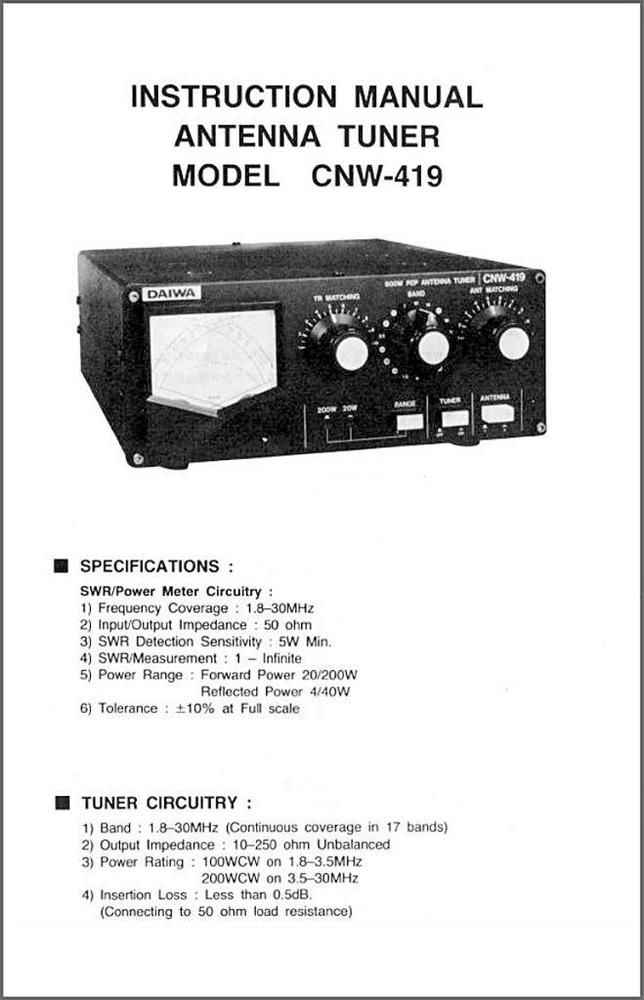 Daiwa Cnw 419 Antenna Tuner Meter Owners Manual Schematic Cb Radio