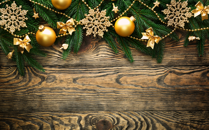 Download wallpapers 4k, christmas decorations, Happy New