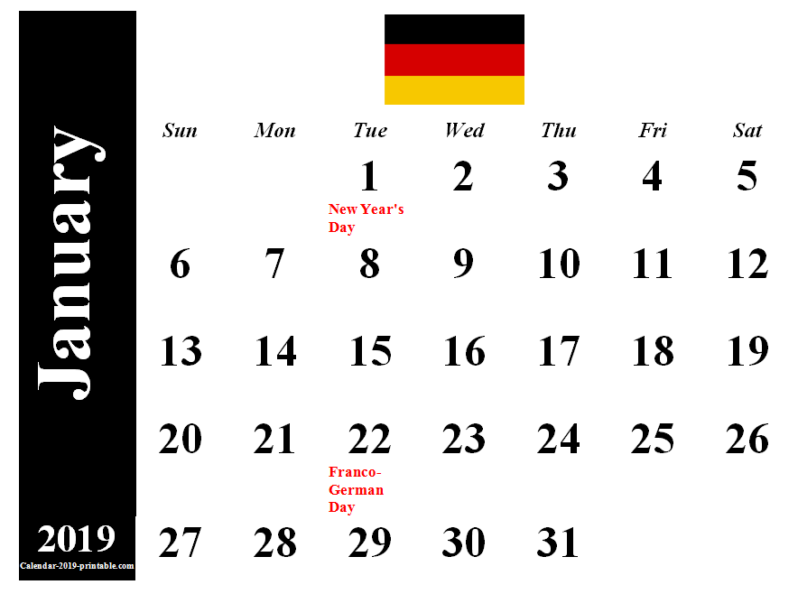 Germany 2019 January Calendar 2019 Calendars Calendar 2019