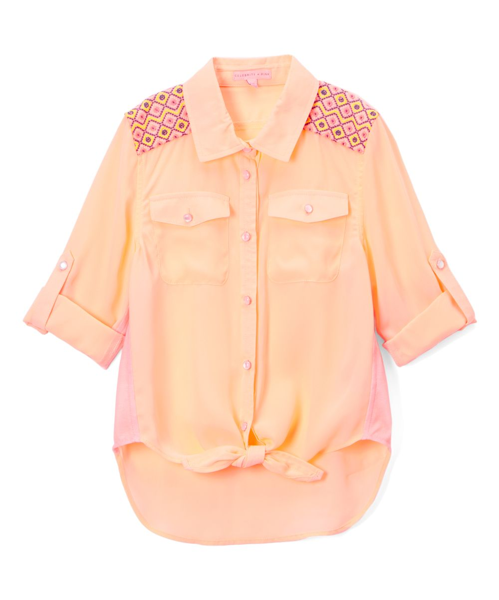 Coral Embroidered-Shoulder Button-Up - Girls