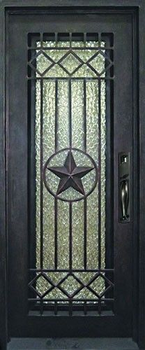 Texas Star Wrought Iron Front Entry Door