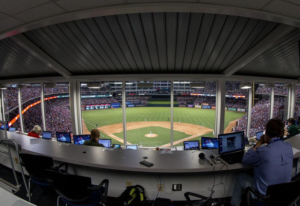 The Texas Rangers' press box Major league baseball