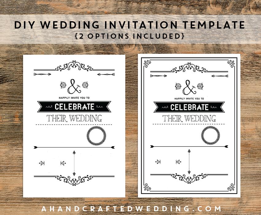 Diy Wedding Invitation Template In Black Ahandcraftedwedding Com