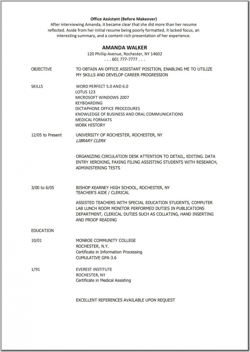 Resume Templates Medical Assistant  Resume Template Ideas