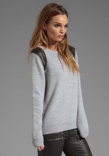 CUT25 Leather Printed Paneled Crewneck Sweater in Heather Grey - Sweaters & Knits