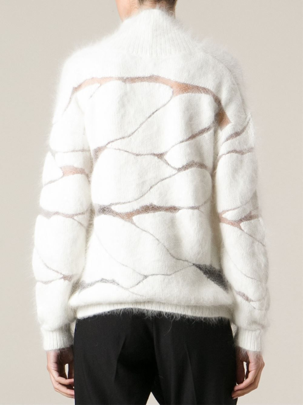 Contemporary Knitwear - fluffy white sweater with abstract pattern ...