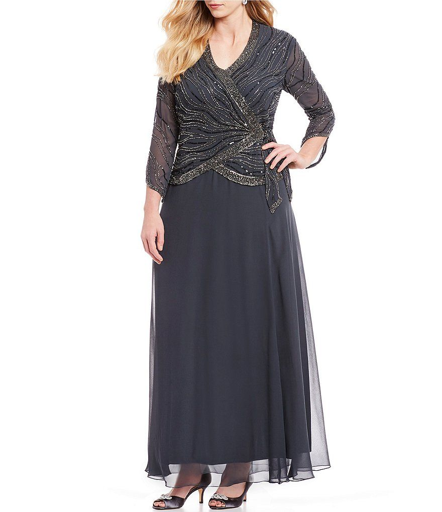 c1ee7b0205d Jkara Plus Size V-Neck 3/4 Sleeve Beaded Faux-Wrap Chiffon Gown in ...