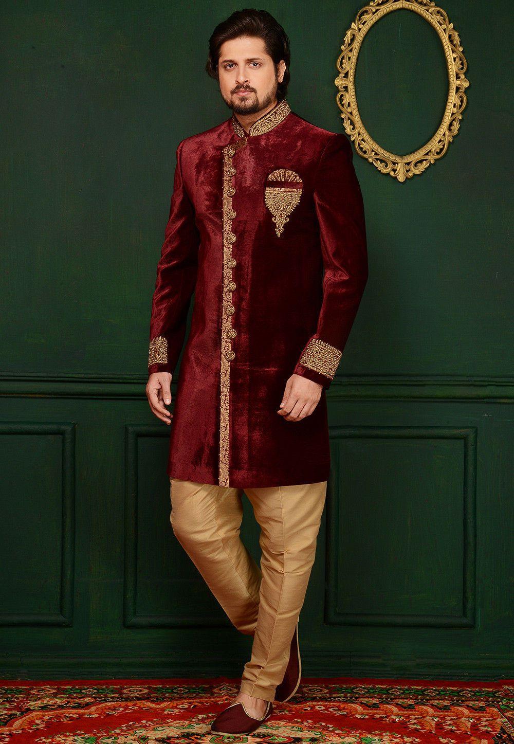 Hand Embroidered Velvet Sherwani In Maroon Traditional Indian Mens Clothing Sherwani Maroon Wedding