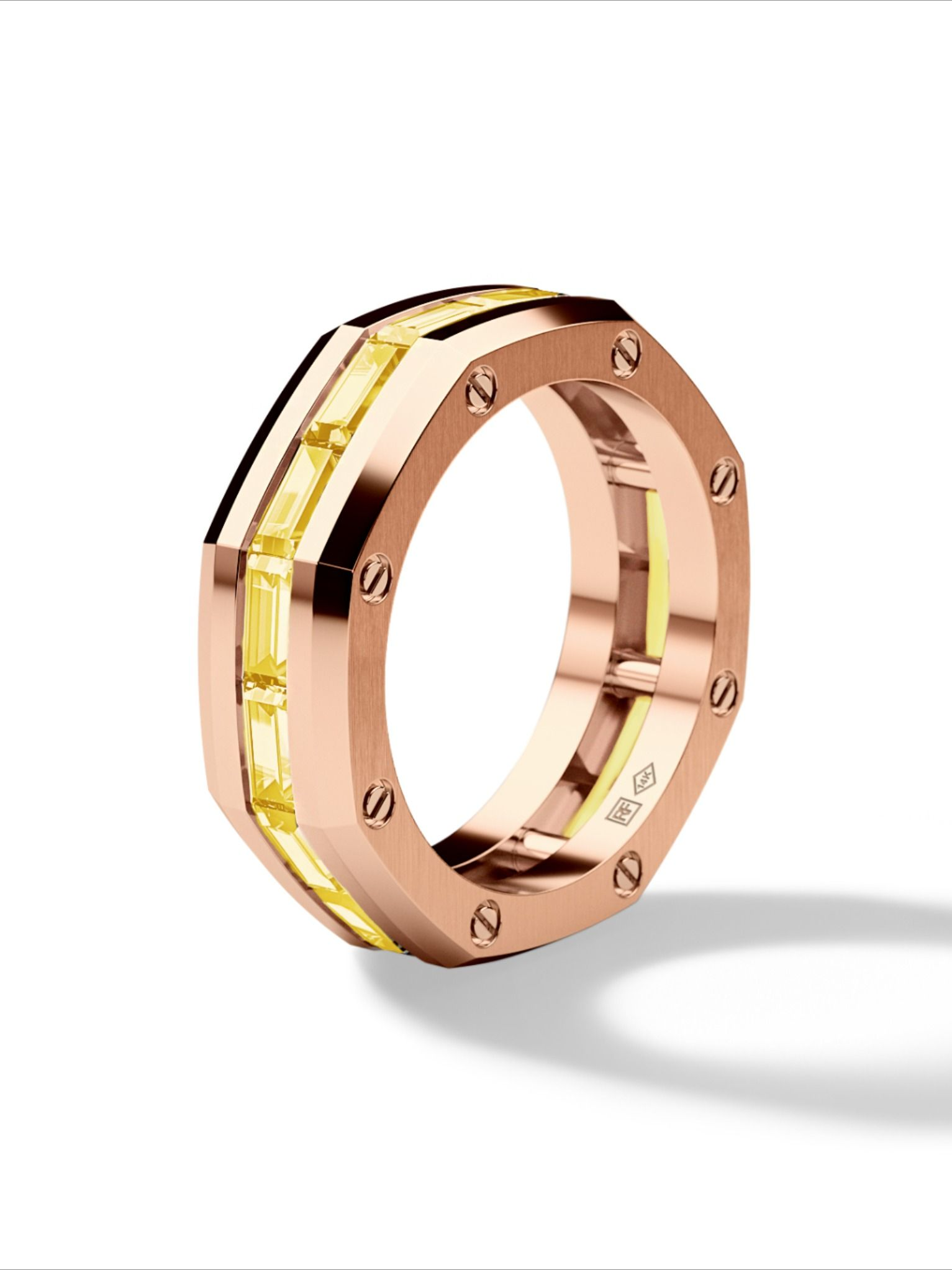 GRANT Mens Gold Wedding Band with Yellow Diamonds in 2020