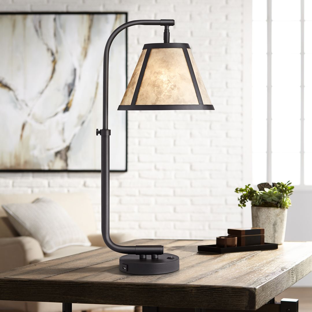 Farmhouse inspired table lamp with a black powder coated