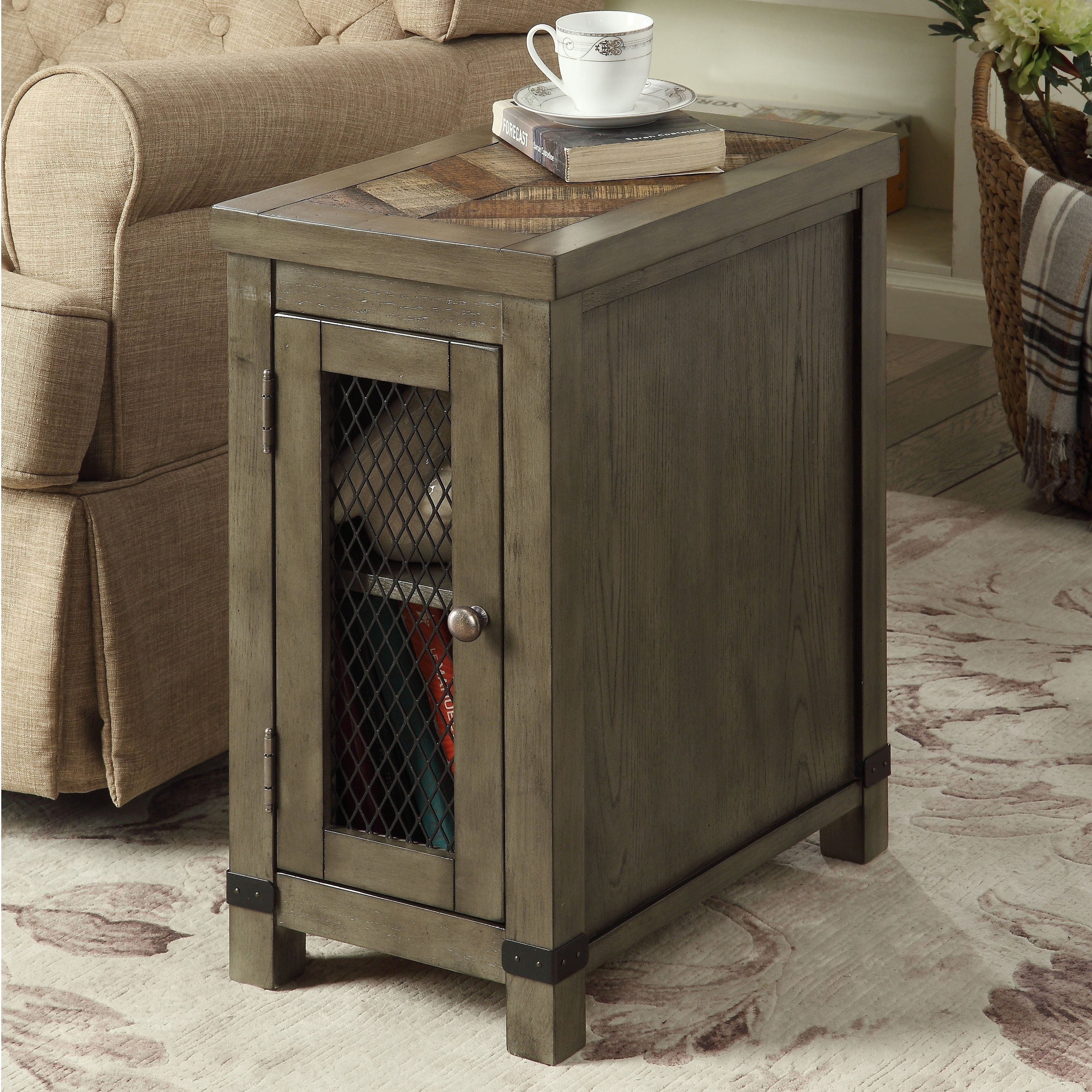 Furniture Of America Nate Rustic Grey Wood 2 Shelf Side Table