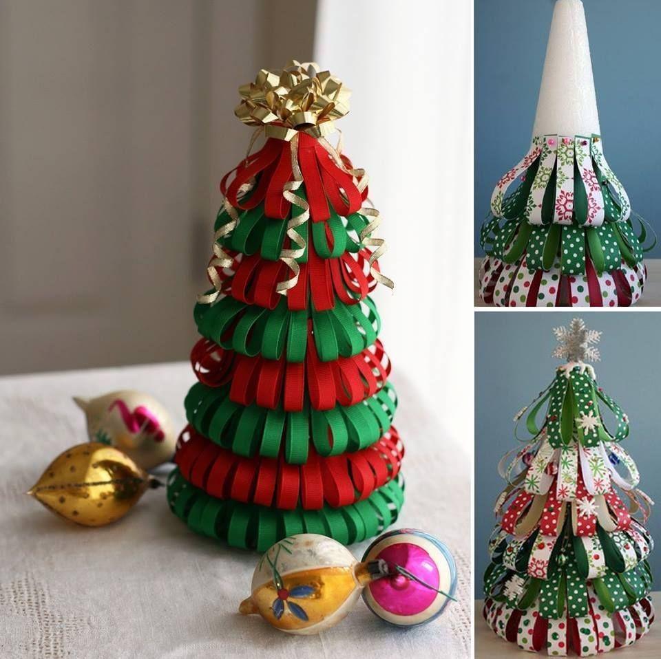 Alternative christmas tree styrofoam cone ribbon pins - Decoracion de navidad manualidades ...