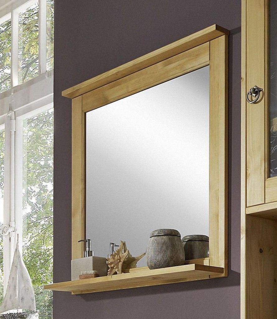 Badezimmerspiegel Mit Ablage Milchglas Holz
