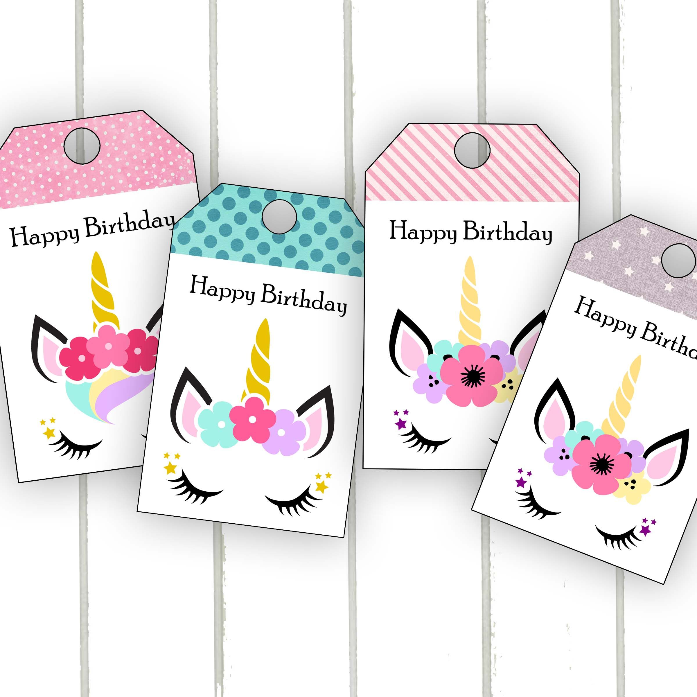 Darling Unicorn Birthday Tags 10th Gifts