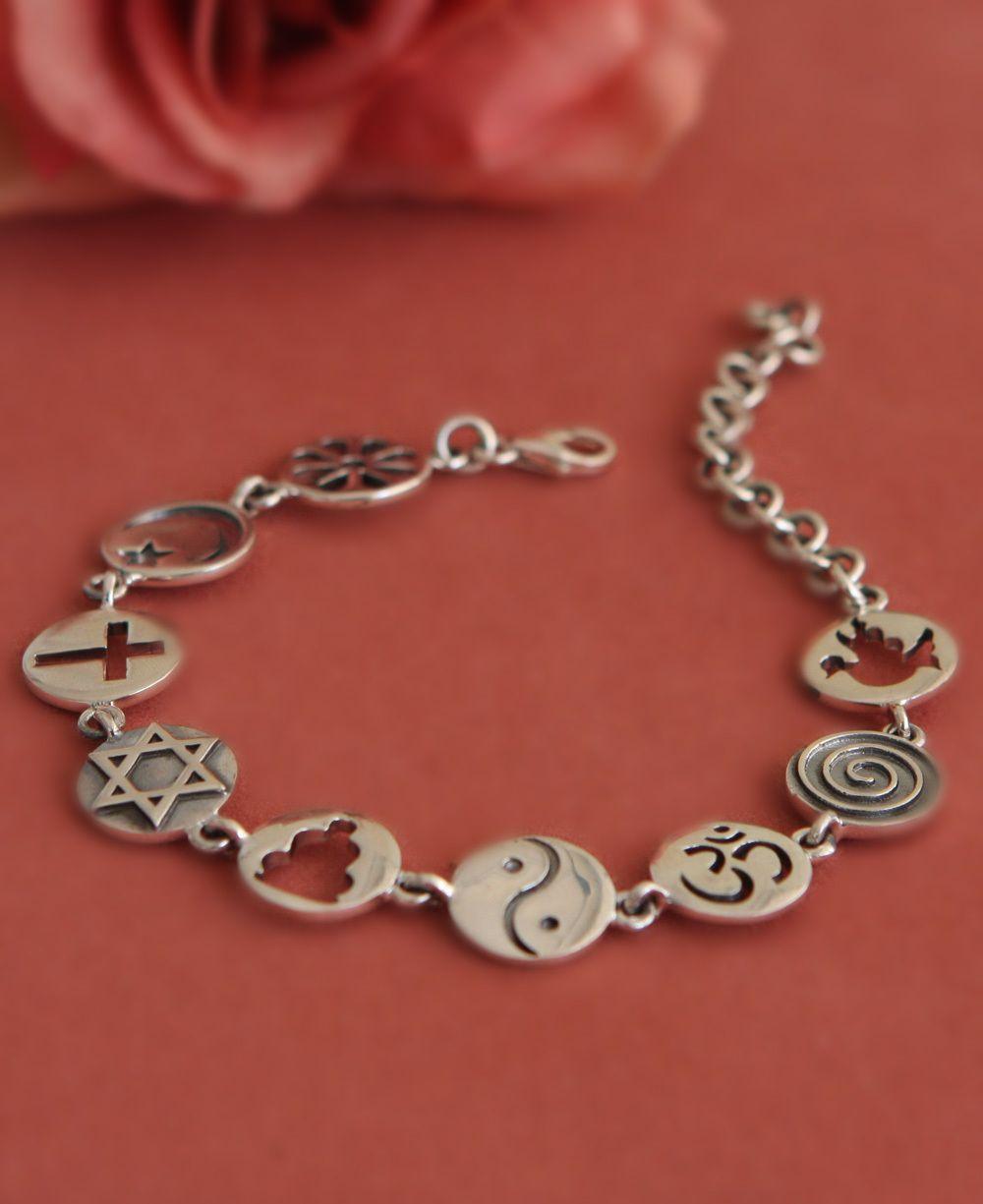 Sterling Silver Coexist Link Bracelet   Bracelet designs, Silver ...