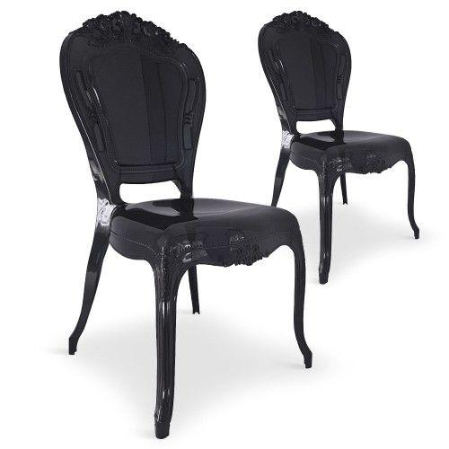 Lot De 2 Chaises Royales Crown Plexi Noir | Chaises | Pinterest