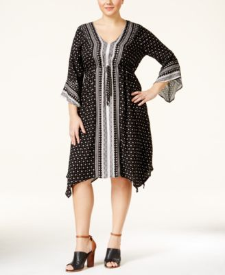 American Rag Plus Size Mixed-Print Peasant Dress, Only at Macy's