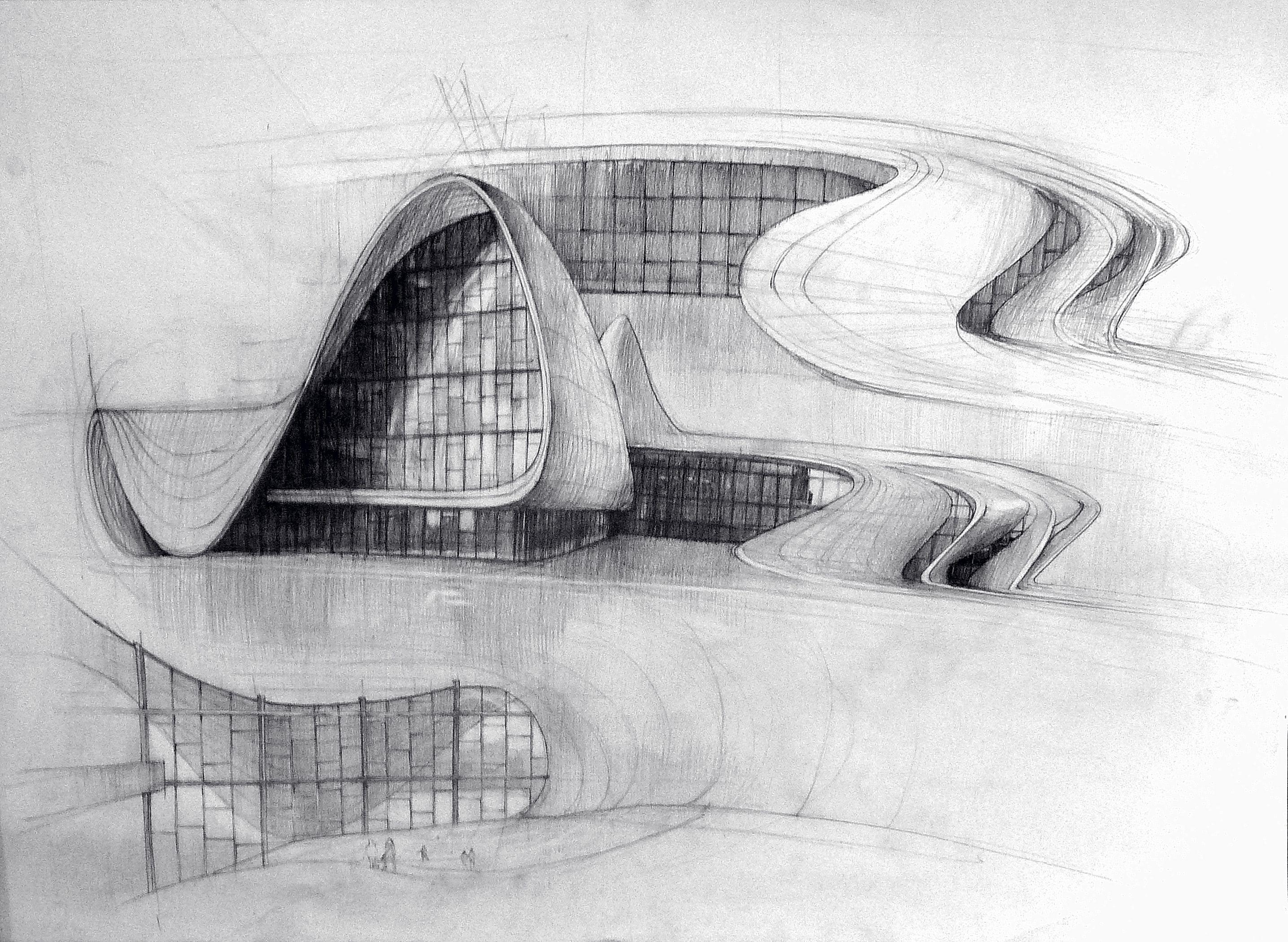 Zaha Hadid Heydar Aliyev Center Arhitekturnye Eskizy Le Korbyuze Bumazhnaya Arhitektura