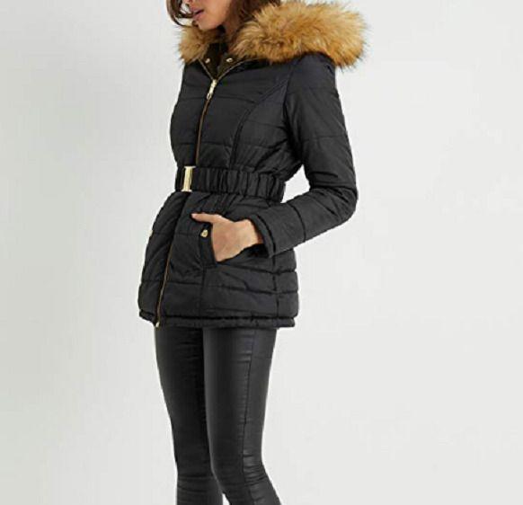 6acee14d88e NEW Lipsy Reversible Padded Coat Parka Fur Black Khaki Womens Size 6 ...