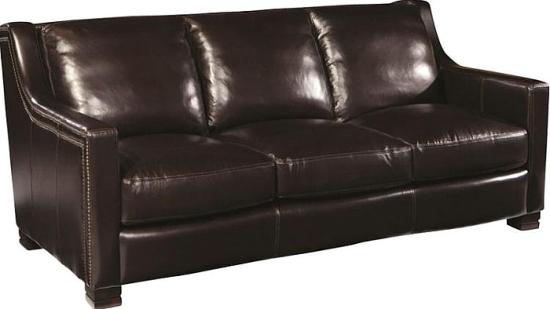 Espresso Nailhead Rim Leather Sofa Sofas By Silver Coast Company