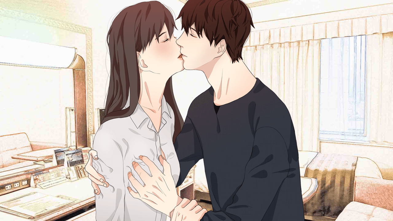 """discouraged workers(#kndw) """"deep kiss"""" in-game screenshot. the game"""