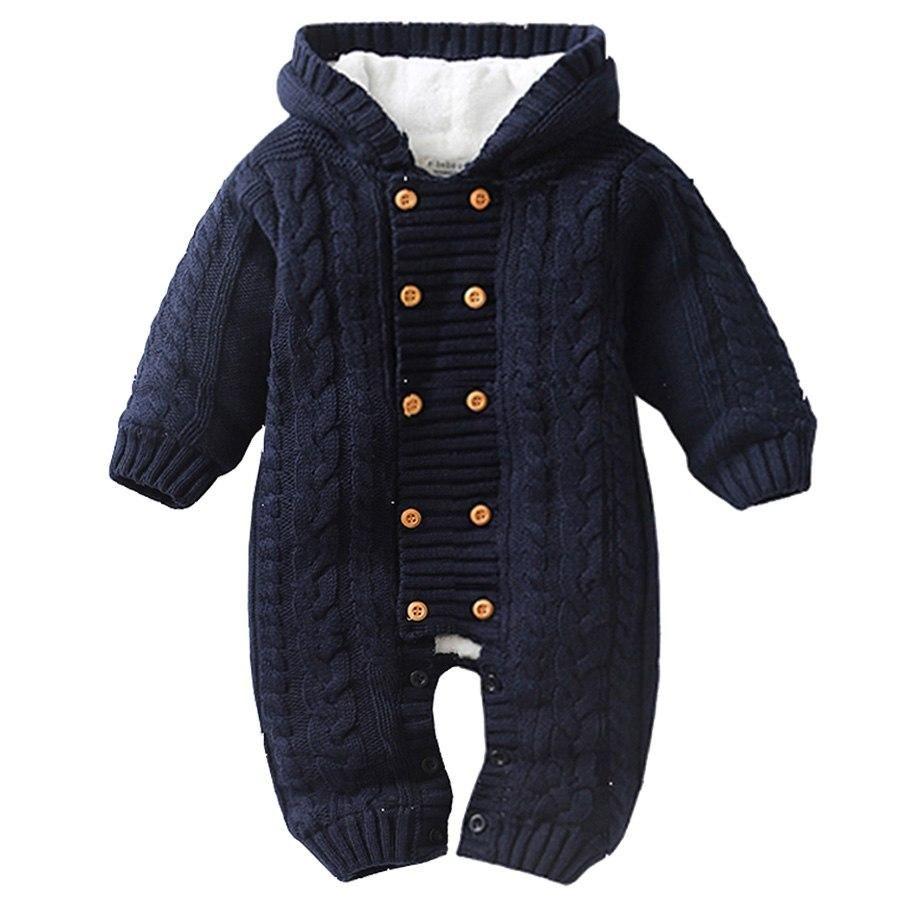 UK Newborn Baby Boys Girls Kniting Romper Jumpsuit Bodysuit Winter Warm Clothes