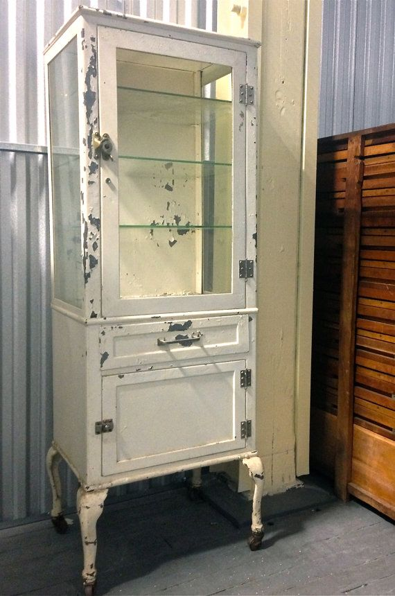 Amazing Vintage Medical Dental Pharmacy Cabinet W 3