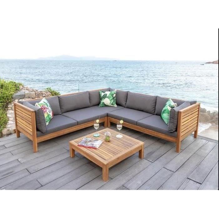 HAO Salon de jardin 5 places en bois d\'eucalyptus - un ...